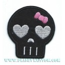 Patch ecusson little skull black girly kiki rose oeil coeur gris