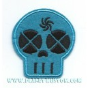 Patch ecusson little skull blue girly black eyes