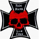 Patch ecusson red skull ride hard live free iron cross