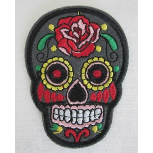 Patch ecusson skull dia de la muerte kaki day of dead sugar skull