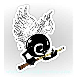 Sticker kustom eight ball von dutch tribute wings 8 ball 3