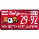 plaque métal imatriculation von Dutch flying eyeball california red
