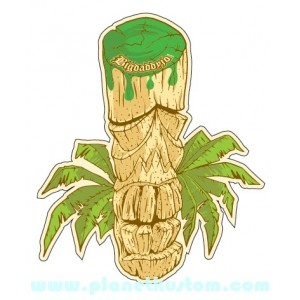 Sticker Bigdaddyjo tribute to manatii scult tiki palm moyen modele BIG49
