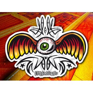 Sticker Bigdaddyjo tribute to VonDutch flying eyeball pinstriping BIG50