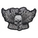 Patch ecusson skull flying live free ride free biker