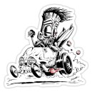 Sticker head hunter skull hot rod tiki surf zombie 11