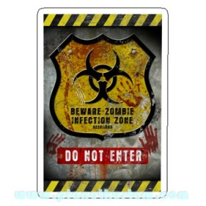 Sticker beware zombie infection zone do not enter danger zombie 15