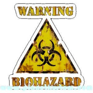 Sticker warning biohazard zombies zone danger zombie 16