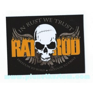 Sticker rat rod skull in rust we trust freedom to build and drive skull 33