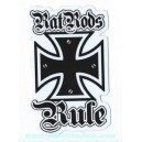 Sticker planet kustom rats rod rule iron cross croix de malt rat 14