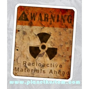 Sticker warning radioactive materials ahead rust panneau danger zombie 18