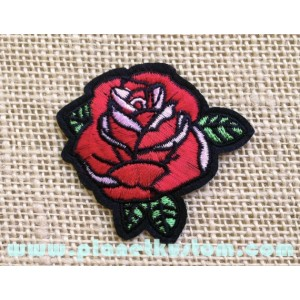 Patch ecusson thermocolant rose rouge red roses petite