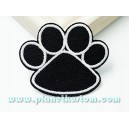 Patch ecusson thermocollant trace de patte de chat noir black cat