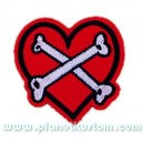 Patch ecusson thermocollant bones cross on heart coeur os croisé