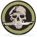 Patch ecusson skull army beret vert couteau entre les dents