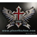 patch ecusson grande taille croix ailes banière god speed you