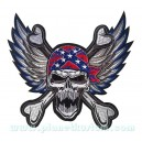 Patch ecusson skull biker tete de mort wings ailes sudiste grand