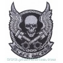 Patch ecusson skull cafe racer biker tete de mort wings ailes moyen