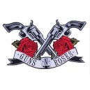 Patch ecusson grande taille guns n roses pistolets revolvers roses rouge