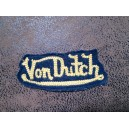 Patch ecusson von Dutch signature jaune d'or fond jean denim petit old stock
