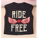Patch ecusson gilet jacket biker ride free star wings