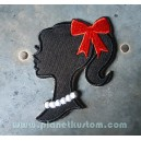 Patch ecusson thermocollant girly pinup girl ombre noir kiki rouge