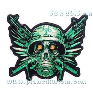 Patch ecusson thermocollant grande taille dos skull military zombies