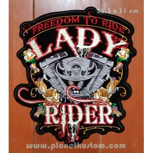 Patch ecusson lady rider vtwin biker moteur en v grand dos roses
