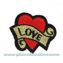 Patch ecusson thermocollant love on heart amour coeur old tattoo