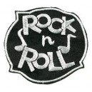 Patch rock'n'roll gris et noir rond