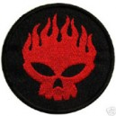 Patch skull red flamed on black circle