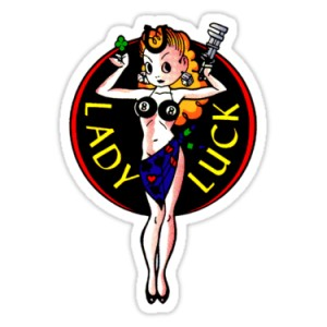 Sticker Pin Up lady luck oldschool old pinup 8
