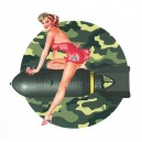 Décalcomanie Pin Up sexy army girl on bomb retro Reproduction décalco vespa b65