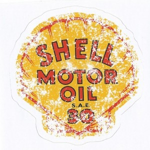 Sticker shell motor oil old speed used racing 9