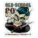 Sticker old shool 80s rockabilly society vinyl dices bones skull 15