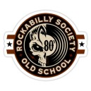 Sticker rockabilly society old school 80s vinyl skull 16