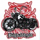 Sticker Bigdaddyjo chopper flaming strip red BIG36